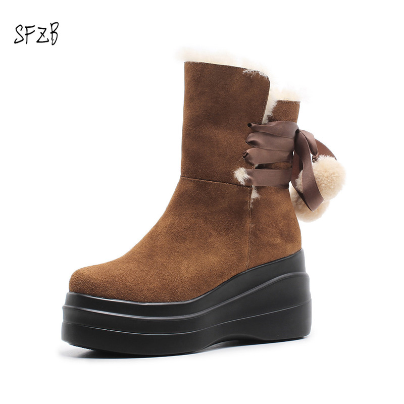 SFZB real cow leather short suede women winter snow boots with button sheep fur lined woman winter shoes brown black habuckn genuine leather suede winter snow boots for women real sheep fur wool lined winter shoes high quality brown black