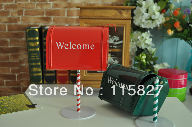 England style Iron post box mini post box sundries container Welcome board house decoration
