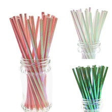 500pcs/lot Pearl Rainbow Iridescent Paper Straws Kids Birthday Party Wedding Decoration Bridal Shower Drinking DIY