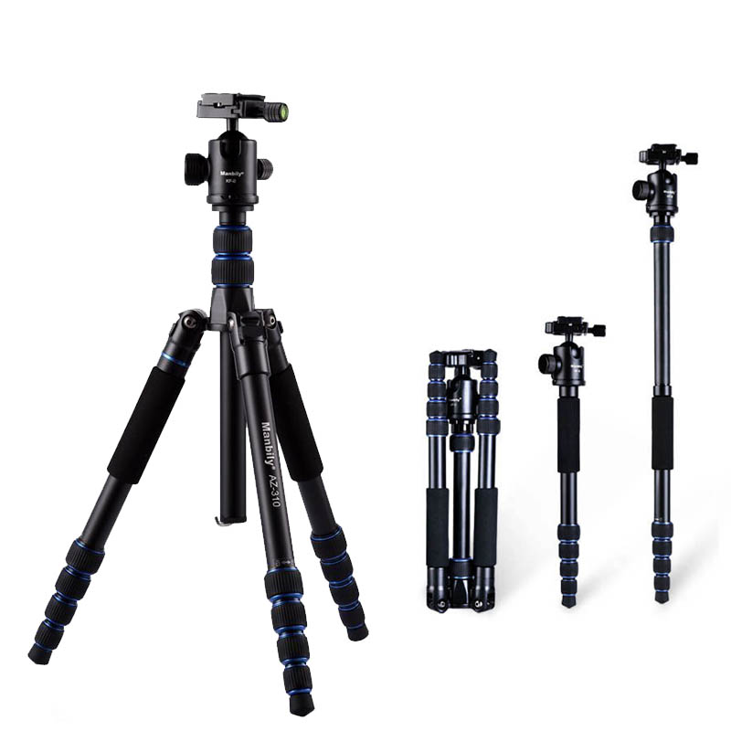 Manbily AZ310 Professional Camera Tripod Monopod Ball Head Portable Compact Travel Photo DSLR Tripod Stand / Better than Q666 new qzsd q888 professional aluminum tripod monopod with ball head for dslr camera to camera camera stand better than q666
