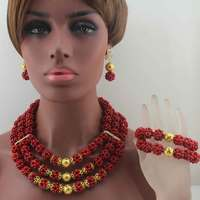 2019New African Red/Golden Coral Beads Jewelry Set earrings Nigerian Wedding Indian Costume Bridal Necklace Set Free Ship W14013