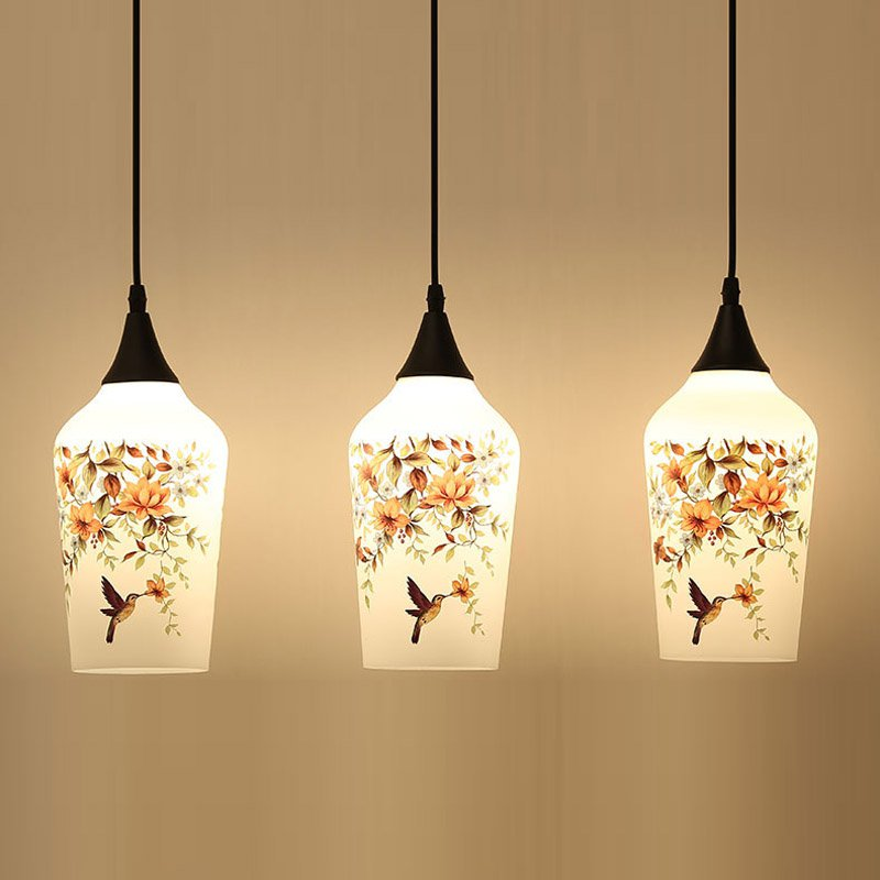 Modern Glass Case Pendant Light Chinese Style Printing Restaurant Pendant Lamps Bar Counter Pendant Lighting Fixtures modern iron 3heads yellow gray blue pendant light study macarons restaurant bar inline chandel lighting pendant lamps za925435