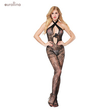 Sexy Lingerie Women One Piece Halter Lace Catsuit Nightwear Black Embroidery Mesh Bodysuit Bowknot Bodystocking