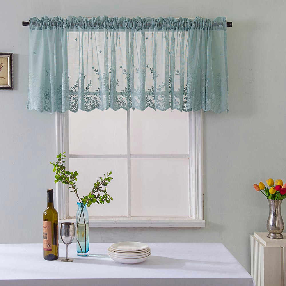Lace kitchen curtains Waffle Woven Textured Valance for Bathroom Water Repellent Window Covering tenda#30