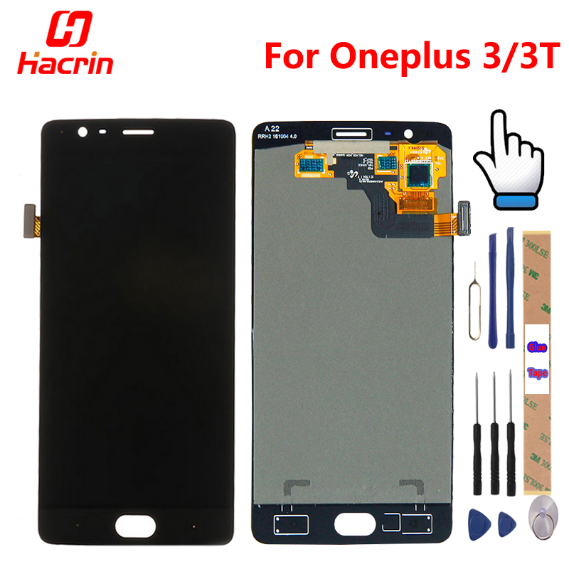 Oneplus 3 т ЖК-дисплей Дисплей Сенсорный экран 100% новый FHD 5,5 планшета сборки замена аксессуар для One plus A3010 A3000 3 три
