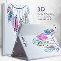 Para ipad pro 12.9 alta qualidade moda relevo relevo 3d pintura capa de couro case + film + stylus