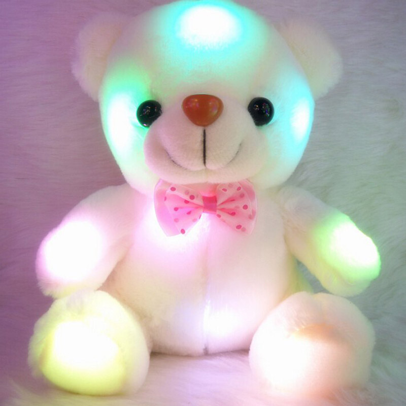 Kids Toys Led Glowing Bear Soft Plush Stuffed Toys Gift for Girls Christmas Birthday Party Light-up Toys for Children image