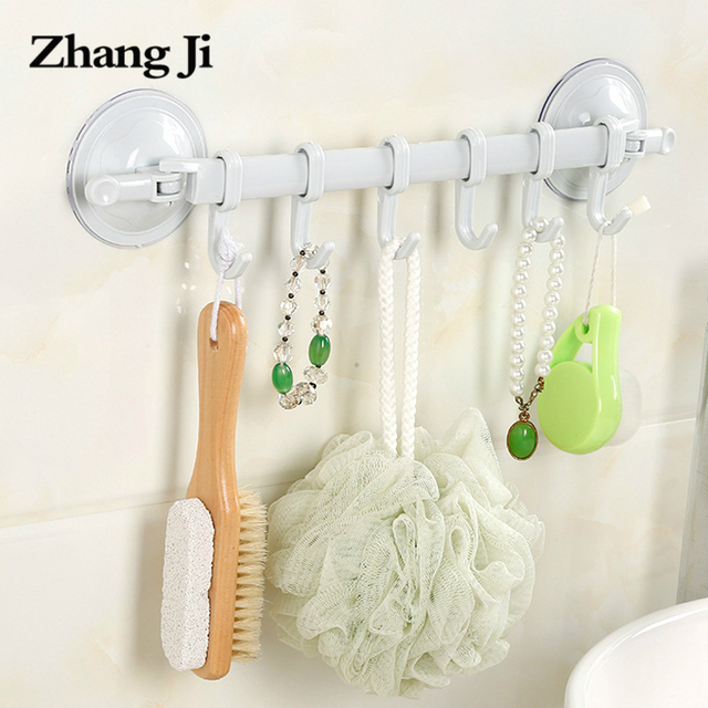 Zhangji Wall Mounted Bathroom Plastic Corner Shelf Suction Cup Towel With Hooks Shower