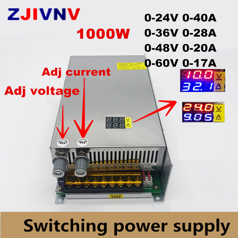 counter cyclical output stabilization in nigeria input AC 220V 1000W switching power supply output 0-24V 36V 48V 60v Adjustable DC voltage and current stabilization Digital