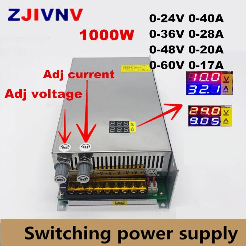 input AC 220V 1000W switching power supply output 0 24V 36V 48V 60v Adjustable DC voltage and current stabilization Digital