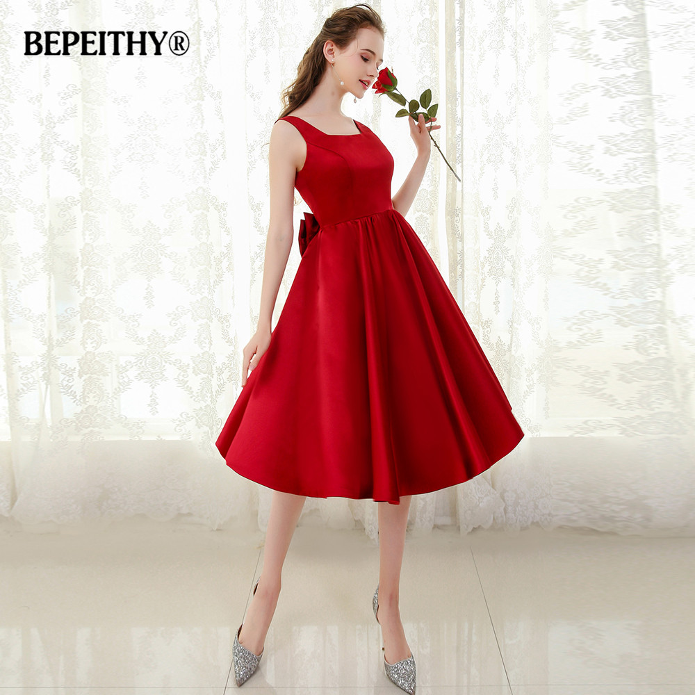 BEPEITHY Sexy Backless Short   Prom     Dress   Bowknot Vestido De Festa Evening Gowns 2019 Fast Shipping