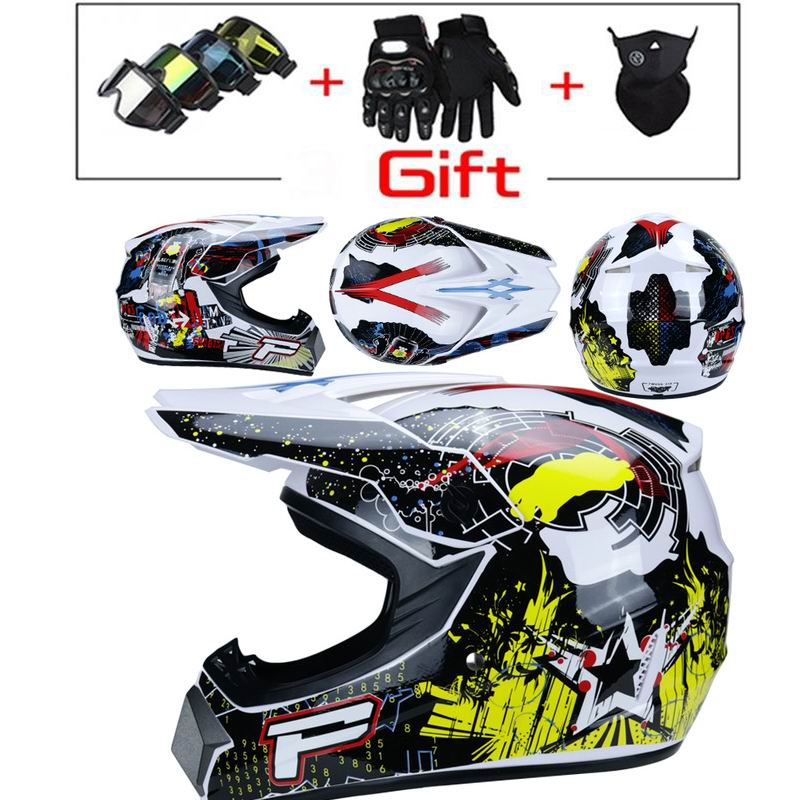 RAON Double sport motocross helmet MX motorcycle helmet ATV scooter downhill safety Helmet D.O.T certified with goggles gloves mask 4 of set