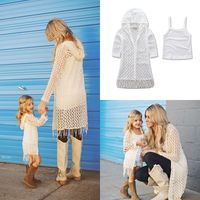 2017 New Mom Daughter Family Matching Clothes Women Kids Girls Tassel Casual Coat Outwear