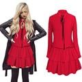 2017 sping vestidos moda elegante roupas femininas casual cor sólida manga comprida ruffles a-line dress black red plus size dress