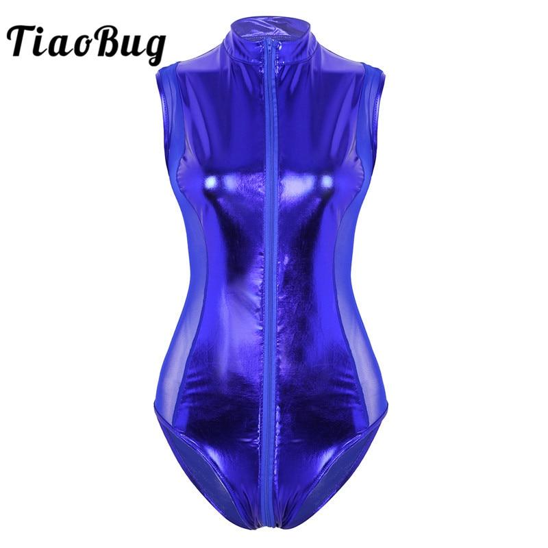 TiaoBug Women Metallic Patent Leather Sheer Mesh Splice Zipper Leotard Sexy Bodysuit Pole Dance Club Rave Performance Costume