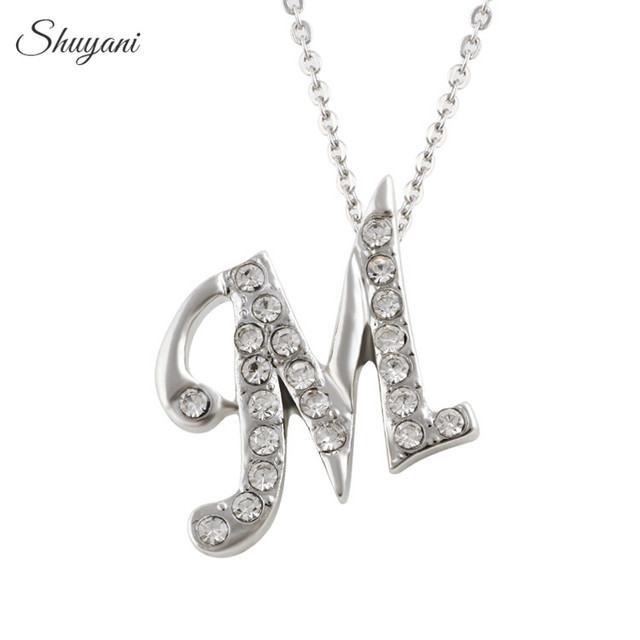 Shuyani summer collar crystal pendant necklace silver plated english shuyani summer collar crystal pendant necklace silver plated english 26 initial letter m alphabet necklace for aloadofball Gallery