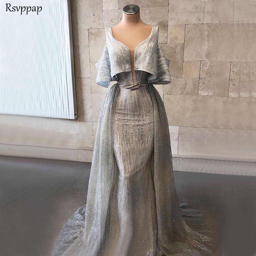 Long Evening Gown Dresses 2019 Sexy Mermaid V-neck Short Sleeve Silver Glitter Dubai Saudi Arabia Formal Dress Ladies Long Train gown