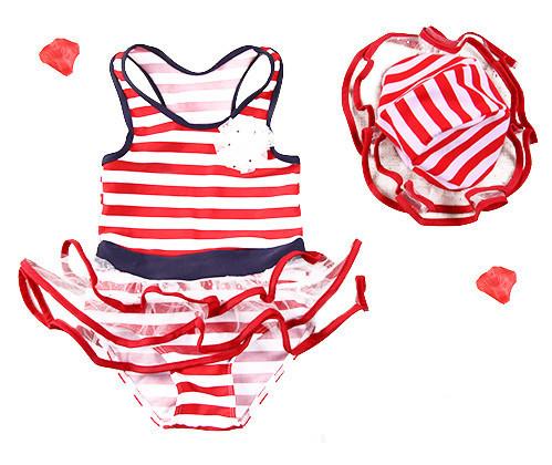 Bebê meninas verão de natação traje de banho suitstoddler 2 pcs bikini roupa infantil listrado swimwear dress crianças cap praia swimwear
