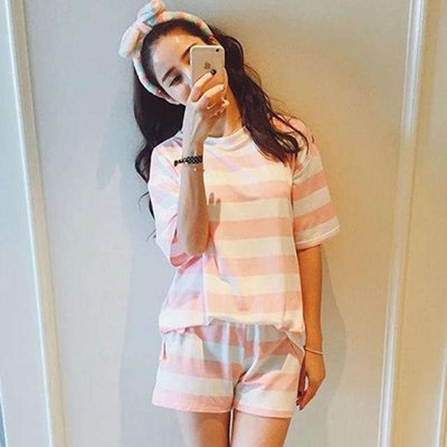 DeRuiLaDy Fashion Sexy Women Pajamas Summer Comfortable Breathable Pajamas Sleepwear Shorts Exquisite Cute Shirt Home Clothing