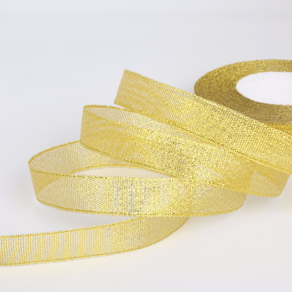 Gold Feather Organza 25mm Ribbon Trim Lace Two Meters mixed media scrapbooking