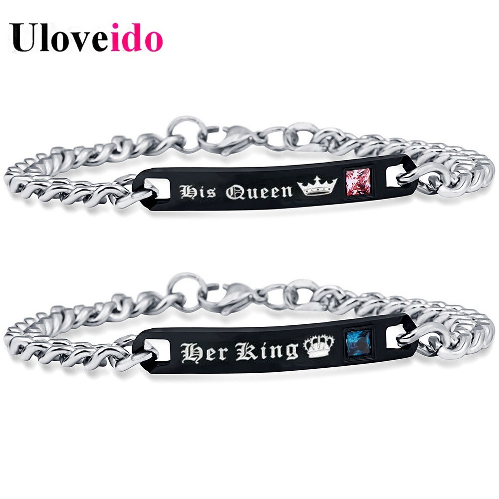 Uloveido 35% Her King and His Queen Bracelets for Women and Men Black Stainless Steel Bracelet for Couple Titanium Jewelry ST117(China)