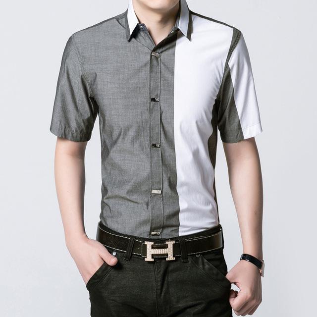 2017 nova primavera verão camisas moda casaul dos homens botão de metal fino camisa de manga curta camisa masculina personalidade camisas de marca homens