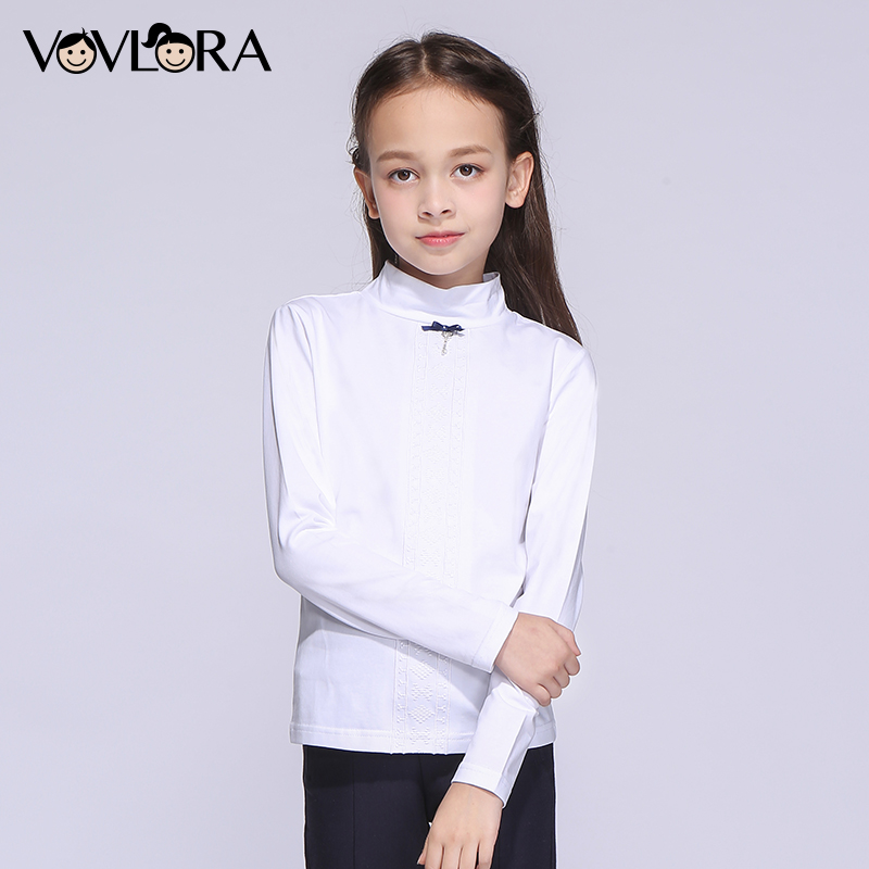 Girls T-shirt Tops Long Sleeve White Cotton Kids School T-shirts Fashion 2017 New Children Clothes Size 9 10 11 12 13 14 Years