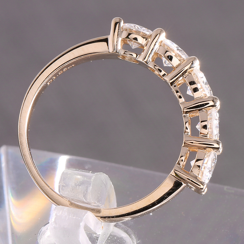 Image 4 - Transgems Solid 14K 585 Yellow Gold 1.25CTW 4mm F Color Moissanite Diamond Half Eternity Wedding Band Rings for Women Jewelry-in Rings from Jewelry & Accessories
