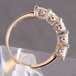 Image 4 - Transgems anillo de oro sólido de 14K 585 para mujer, sortija de boda de 1,25ctw de 4mm, Diamante de moissanita de Color medio eternidad, joyería