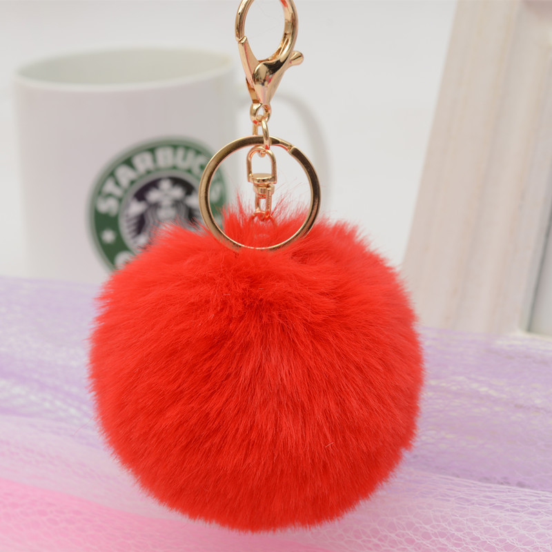 Big Faux Leather 8CM Fur PomPom KeyChain Rabbit Hair Bulb Bag Pom Pom Ball Key Chain Pendant Poret Clef for Women Lovely Fluffy