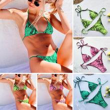 2019 Summer Bodycon Bikini Swimwear Womens High Waist Set Push Up Swimsuit Bathing Suit Beach Outfit