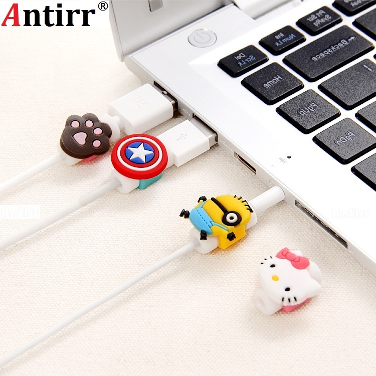 Cute USB Charger Cable Winder Protective Case Saver Earphone Cord Protection Sleeve Wire Cover 8Pin Data Line Protector Cartoon