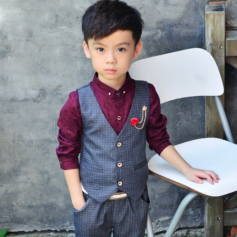 ФОТО 2016 Autumn boys clothing set kids clothes set of 3 baby boy shirt pants & vest baby boy blazers clothes set boy gentleman suit