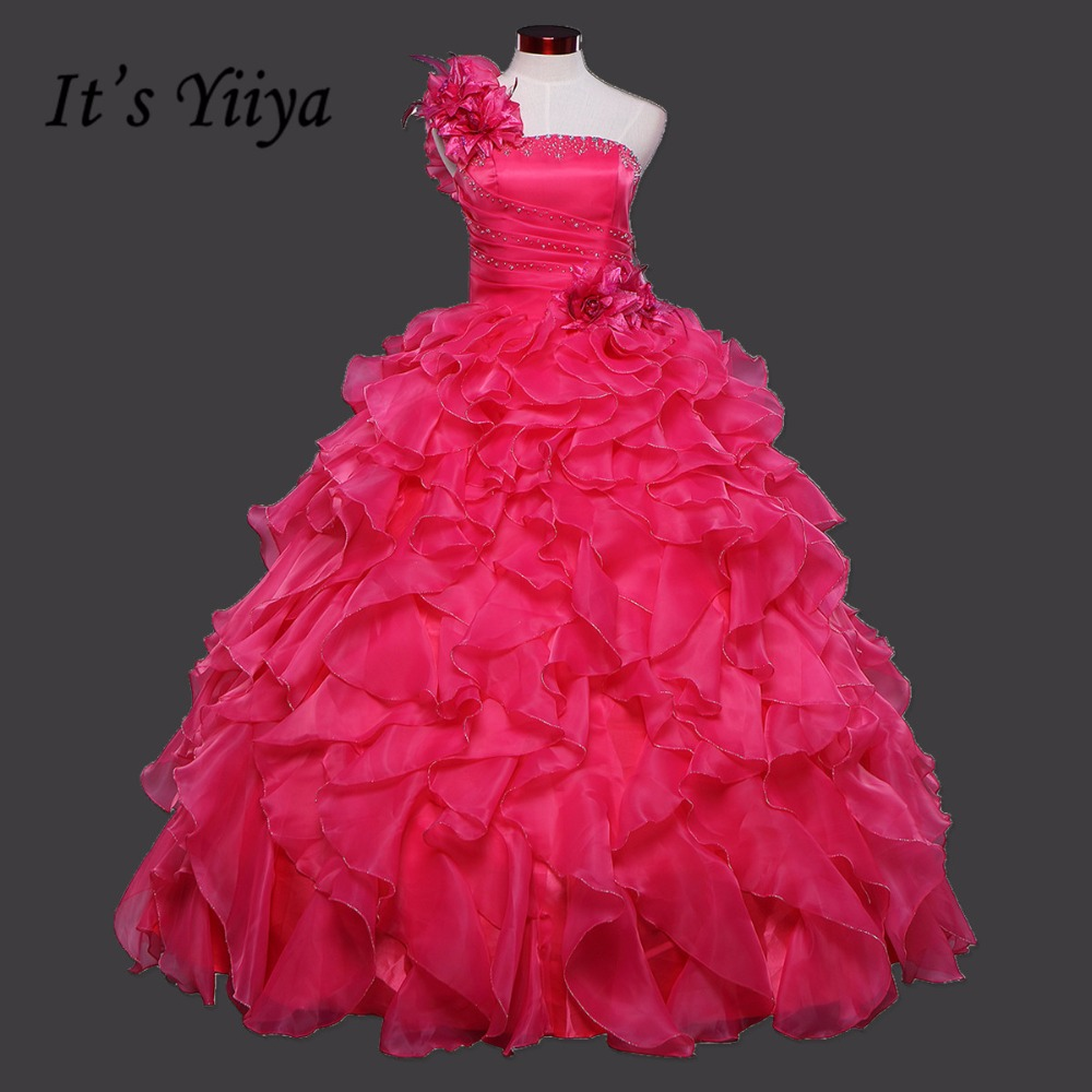 2017 New Arrival Real Photo Hot pink One Shoulder Flower Wedding Dresses Floor Length Bride Gowns Vestidos De Novia QSZY016