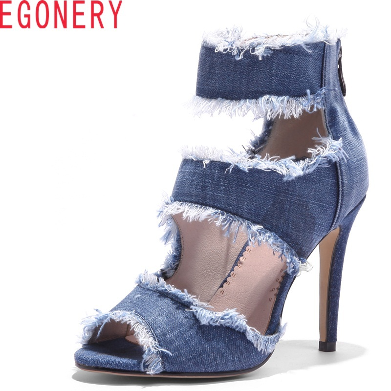 EGONERY woman fashion sandals 2018 summer ladies short boots denim round head super high thin heels rear zipper casual shoes p80 panasonic super high cost complete air cutter torches torch head body straigh machine arc starting 12foot