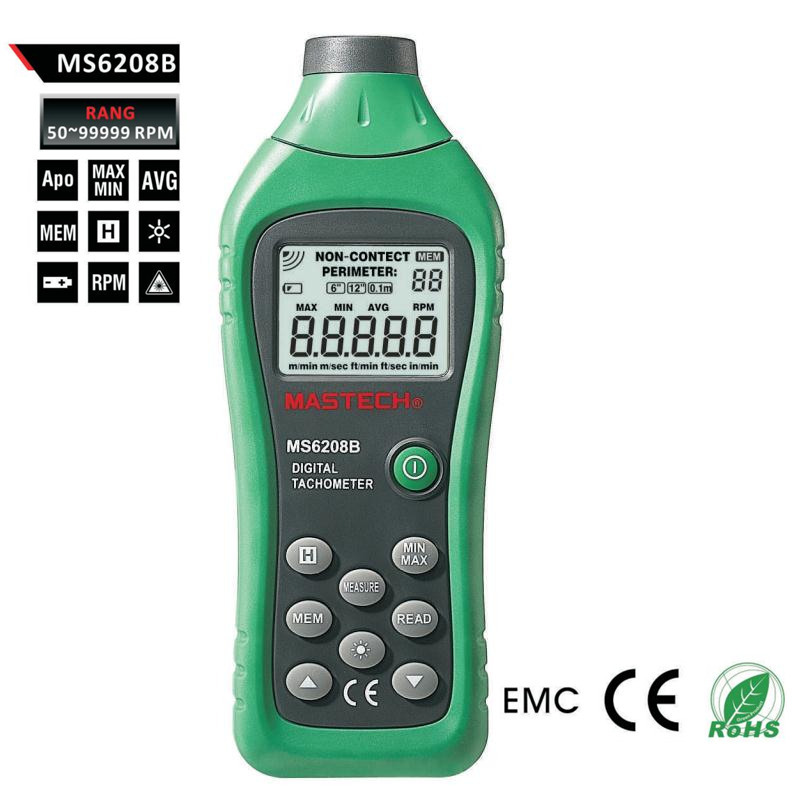 ФОТО MASTECH MS6208B lcd digital laser photo tachometer RPM meter non contact tacometro rotation speed 50RPM-99999RPM data storage