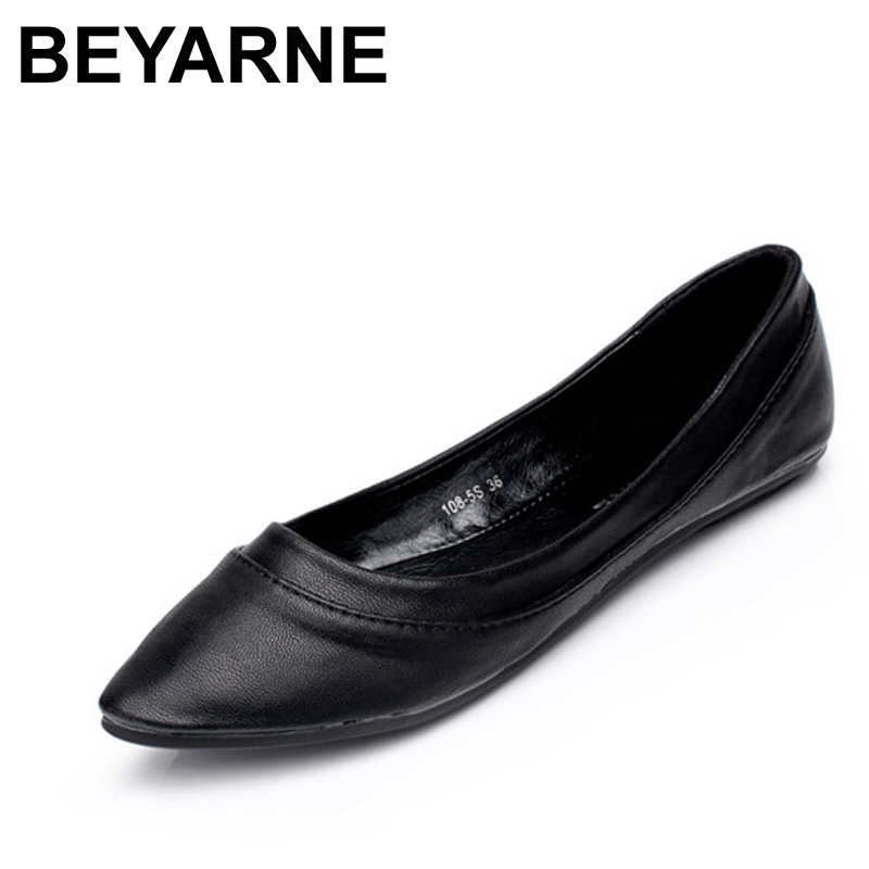 BEYARNE Womens Shoes Flats Women Casual Shoes Moccasins Shoes Woman Slip On Pointed Toe Flat Shoes zapatos planos mujer scarpe 2017 womens spring shoes casual flock pointed toe narrow band string bead ballet flats flat shoes cover heel women flats shoes