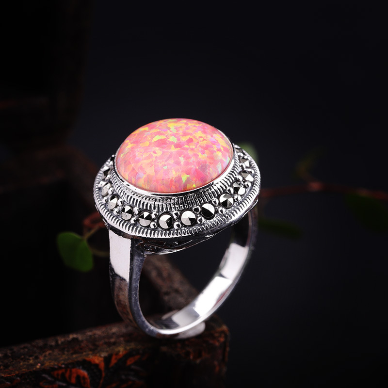 2019 New Luxury Round Opal Ring For Lady Elegant Natural Opal Gemstone Real 925 Sterling Silver