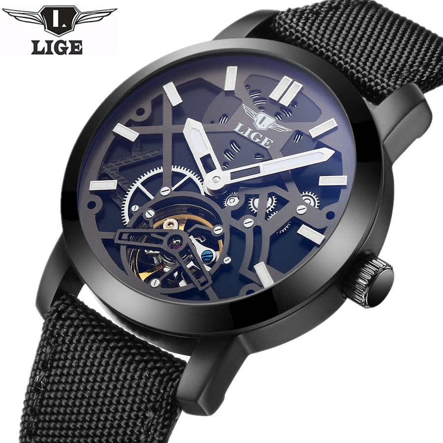 LIGE Sport Watch Men's Luxury Brand Relogio Masculino Military Mechanical Watches Leather Hollow Skeleton clock Relojes Hombre relogio masculino 2017 forsining men s luxury brand military automatic mechanical watches leather watch relojes hombre
