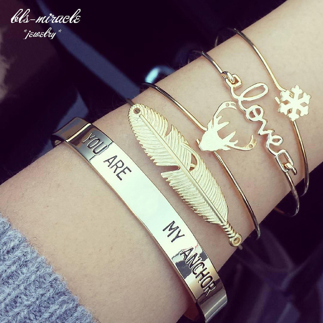 bls-miracle 1sets=4 piece Newest Fashion accessories trendy antlers leaf snowfla