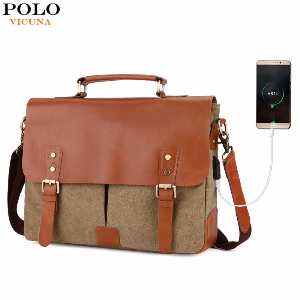 цены на VICUNA POLO Vintage Genuine Leather Satchel Messenger Bag For Man Canvas 14'' Men Laptop Bags Shoulder Bag Men Briefcase Handbag в интернет-магазинах