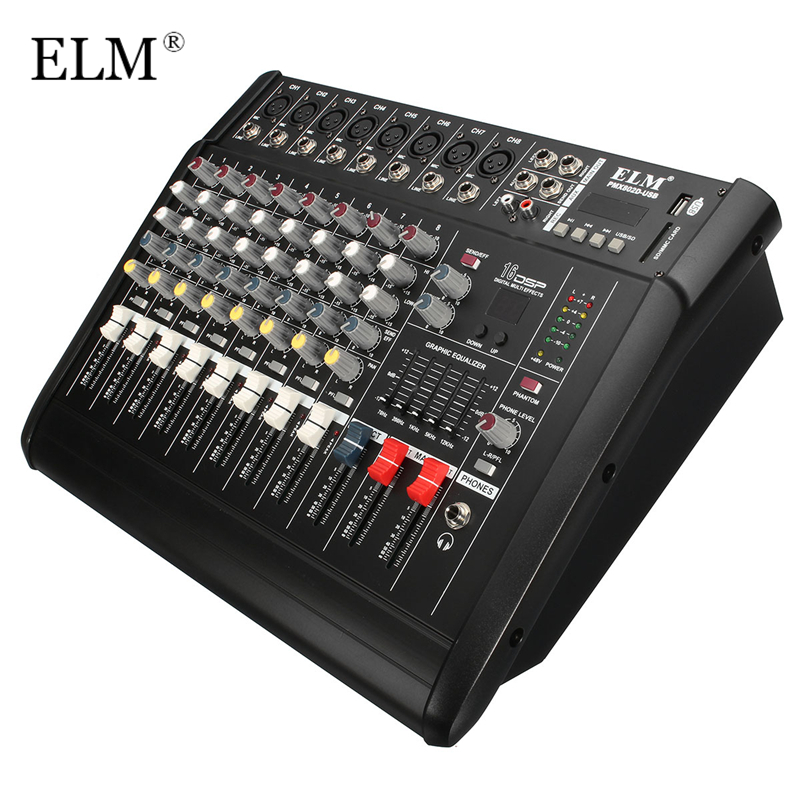 ELM Professional Karaoke Audio Sound Mixer 8 Channel Microphone Mixing Amplifier Console With USB Built-in 48V Phantom Power leory professional karaoke audio mixer 7 channel microphone sound mixing amplifier console with usb built in 48v phantom power