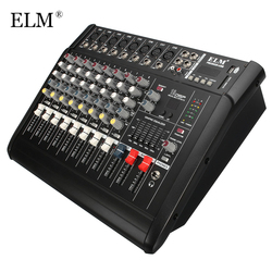 Elm profissional karaoke som mixer 8 canais microfone mistura amplificador console com usb embutido 48 v potência fantasma