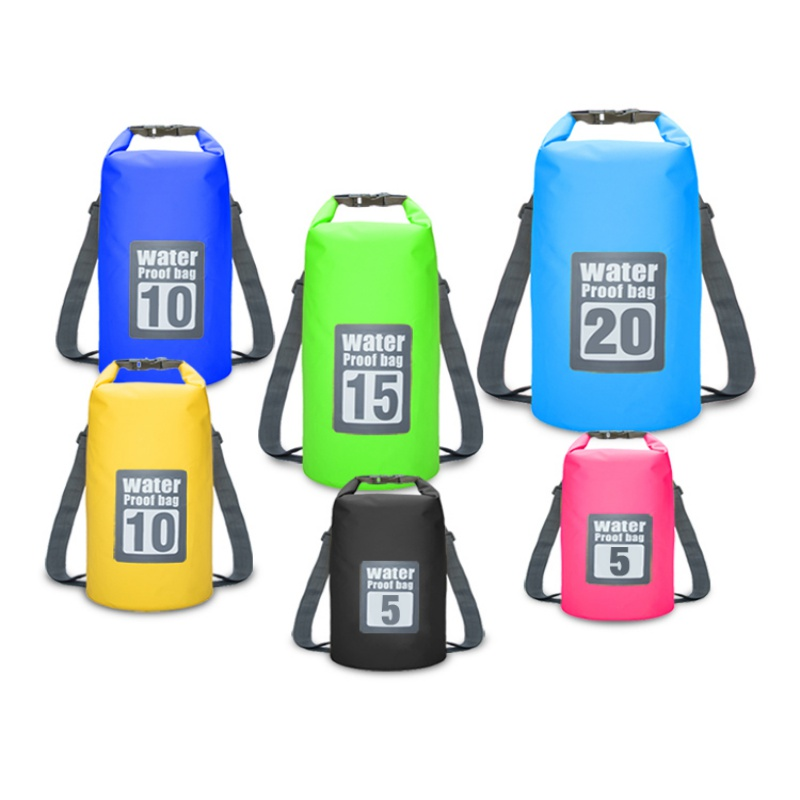 5L 10L Waterproof Dry Bag Outdoor Beach Double Shoulder Straps PVC Buckled Floating Storage Sack Travel Boating Rafting Bags