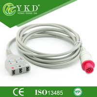 Bionet Korea Compatible ECG Trunk Cable 3ld patient cable, ,AHA/IEC,Round 8pin>L 3ld,,fit for LL style Leadwire