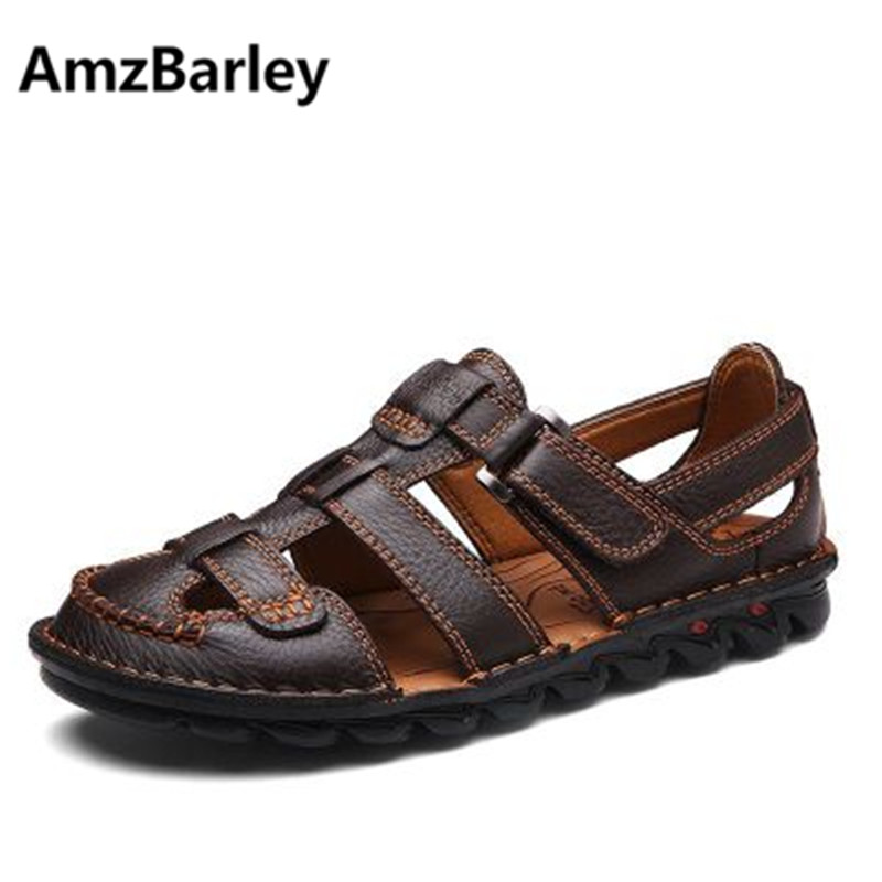 AmzBarley Men Sandals Shoes Footwear Slides Flats Slip On Genuine Leather Outdoor Walking Beach Summer Mature Male Fashion Solid male casual shoes soft footwear classic men working shoes flats good quality outdoor walking shoes aa20135