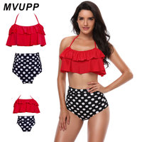 MVUPP Family Matching Clothes Mother And Daughter Swimsuit Flounce Bikini Polka Dot Tie Wrap Bathing Suit