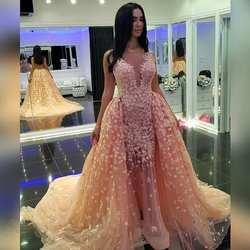 Красивые длинные вечерние платья кружева прозрачные платья Vestidos De вечернее платье со съемным шлейфом Выпускные платья