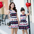 2016 Summer Mother Daughter Dresses Family Matching Outfits Clothing Teenage Girls Striped Cartoon Characters Dress Mae e Filha