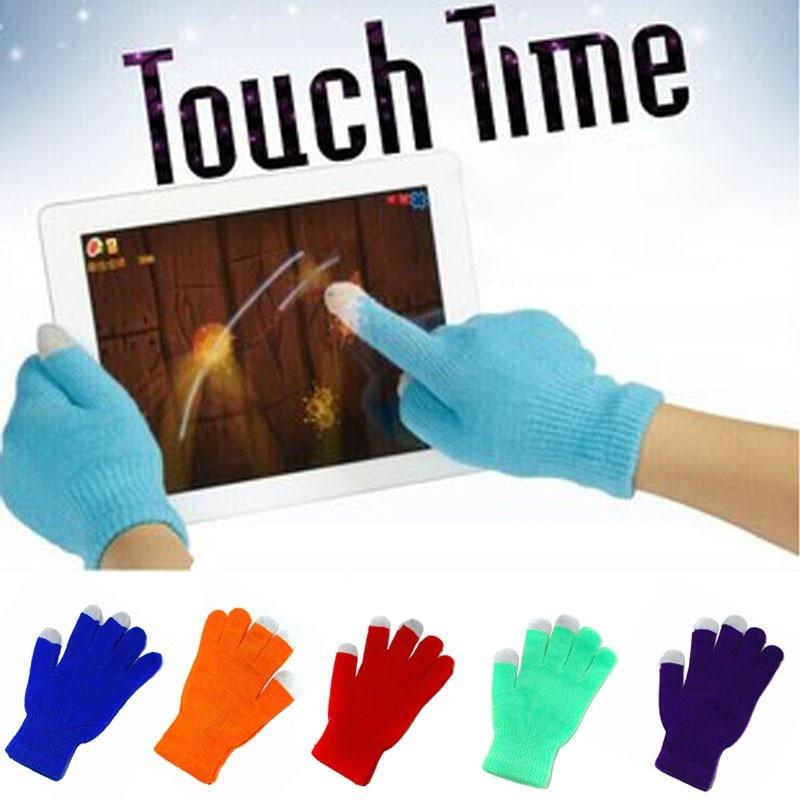 Solid Soft Female Gloves Mittens Screen Sense Warm Winter Mittens For Women Knitted Full Finger Women Gloves Gants Femme